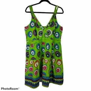 Joe Browns Green Geometric Print Dress Sz 18